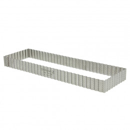 Rectangular fluted tart ring, perforated stainless steel