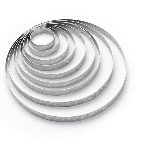 Round tart ring Ht 2 cm VALRHONA, perforated stainless steel