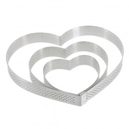 Heart tart ring Ht 2 cm VALRHONA, perforated stainless steel