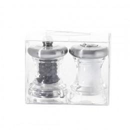 Duo moulins à poivre et salière inox et acrylique transparent 7 cm VOLTE