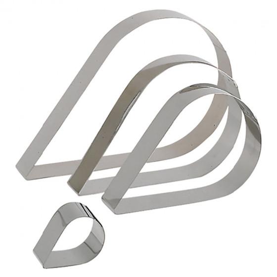 Cercle à pâtisserie inox, forme larme Ht 4 cm