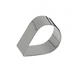 Ring, stainless steel, Tear-drop Ht 4 cm