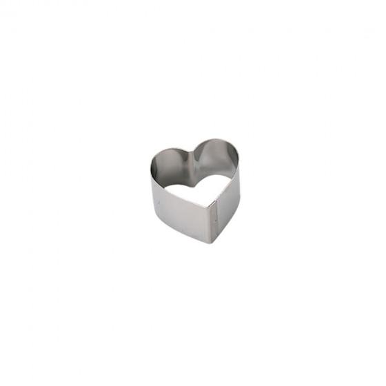 Ring, stainless steel, heart Ht 4,5 cm