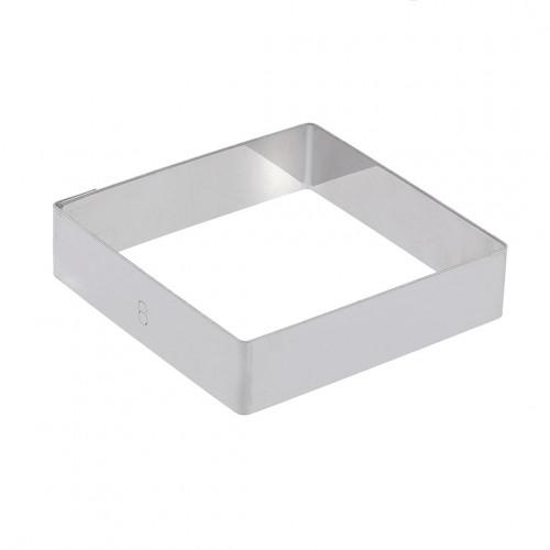 Cercle à tarte carré inox perforé bord droit ht 2cm