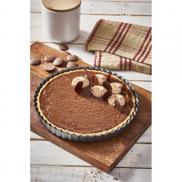 Fluted tart mould removable bottom, non-stick steel