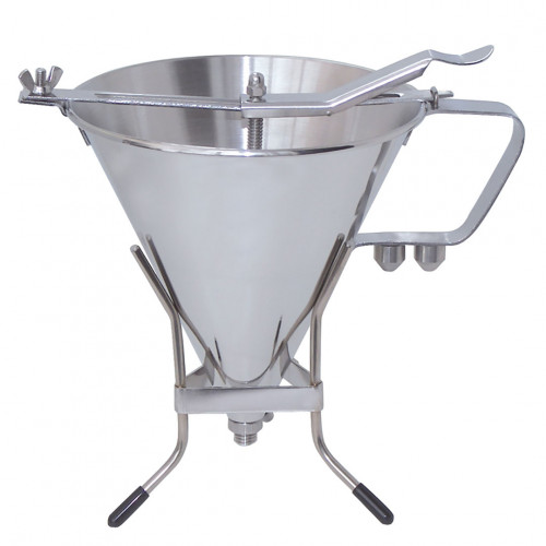 Piston funnel with stand 1,9 L. KWIK PRO, stainless steel