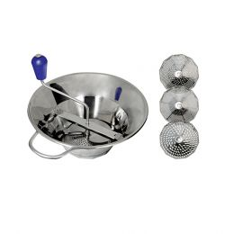 Food mill and 3 sieves 1,5/2,5/4mm, stainless steel