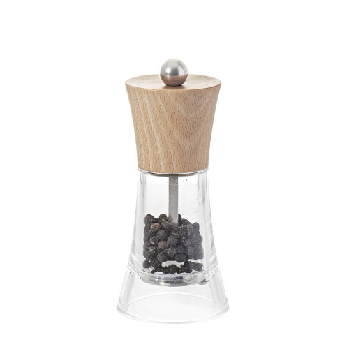 Pepper mill wood and transparent acrylic 13 cm FLAMENCO
