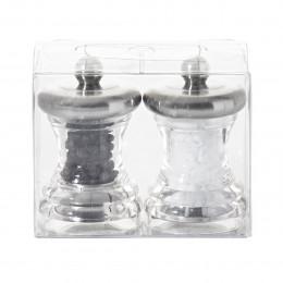 Duo moulins à sel et à poivre inox et acrylique transparent 7 cm VOLTE