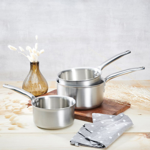 Set of 3 Stainless steel Saucepans ALCHIMY