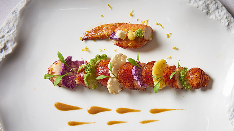 Blue lobster, coloured cauliflower, lobster coulis with orange and cardamom